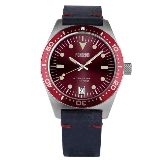 Leather strap watch made in Italy
