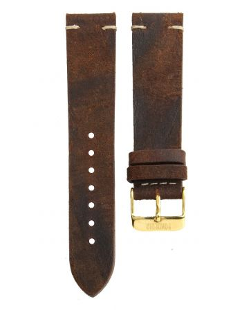 Stitching leather strap 20MM Snuff - gold buckle