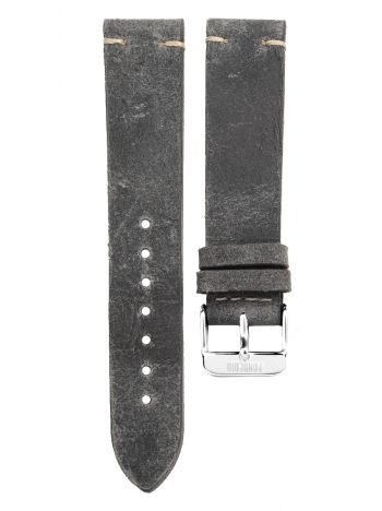 Stitching leather strap 20MM Grey - silver buckle