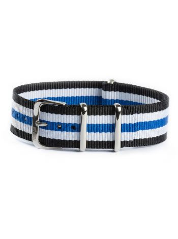 Nato strap white black and blue