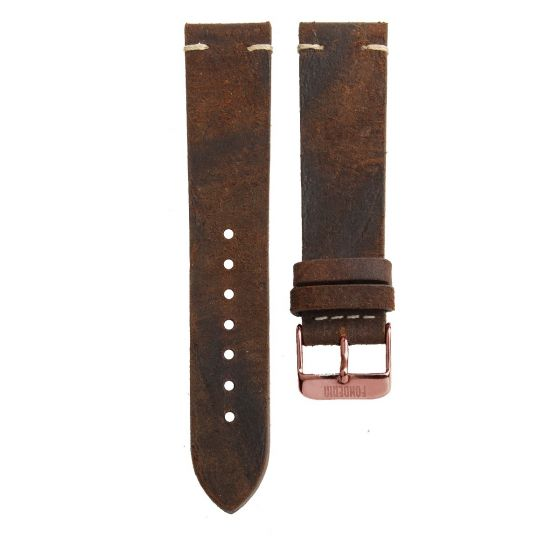Stitching leather strap 20MM Snuff - bronze brown buckle
