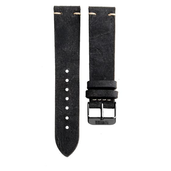 XL Stitching leather strap 20MM Black - full black buckle