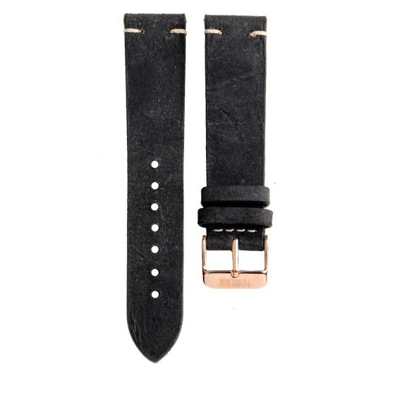 Stitching leather strap 20MM Black - rose gold buckle