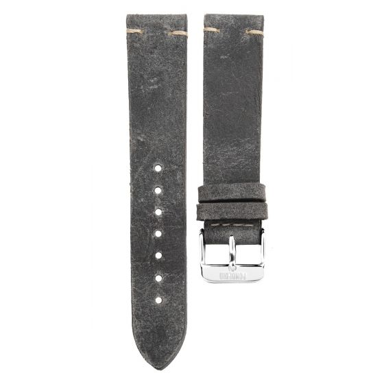 XL Stitching leather strap 20MM Grey - silver buckle