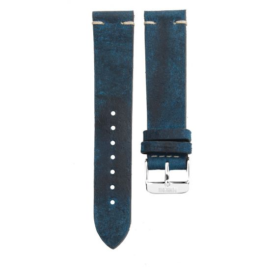 Stitching leather strap 20MM Petrol - silver buckle