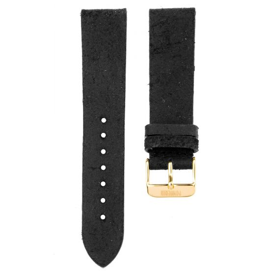 XL Leather strap 20MM Black -  gold buckle