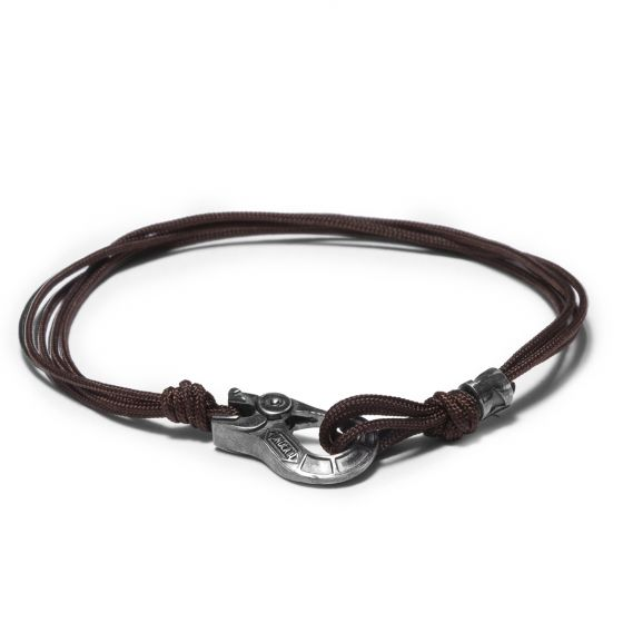 Fabric multi wired and 925 silver BROWN LOOP bracelet