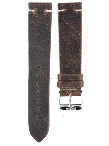 XL Stitching leather strap 20MM Brown - silver buckle