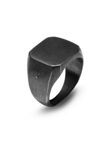 925 silver BLACK SIGNET ring with natural black diamond