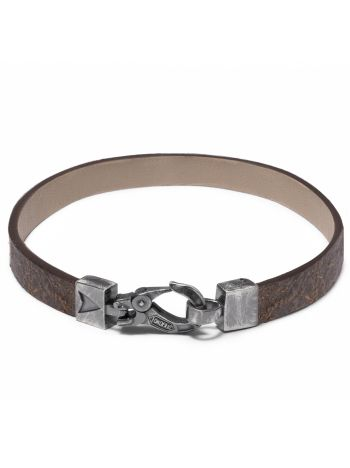 Leather and 925 silver COGNAC WRAP bracelet